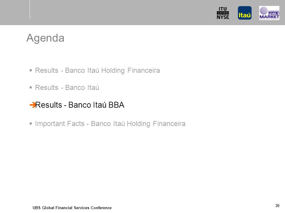 UBS Global Financial Services Conference 30 Agenda  Results - Banco Itaú Holding Financeira  Results - Banco Itaú  Results - Banco Itaú BBA  Important Facts - Banco Itaú Holding Financeira