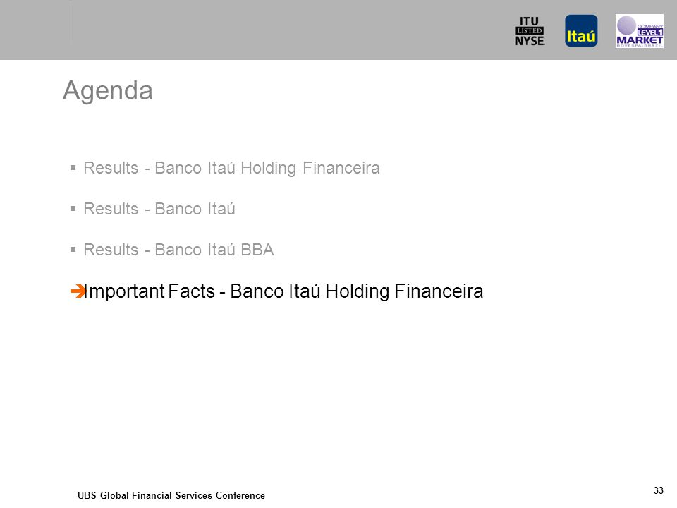 UBS Global Financial Services Conference 33 Agenda  Results - Banco Itaú Holding Financeira  Results - Banco Itaú  Results - Banco Itaú BBA  Important Facts - Banco Itaú Holding Financeira