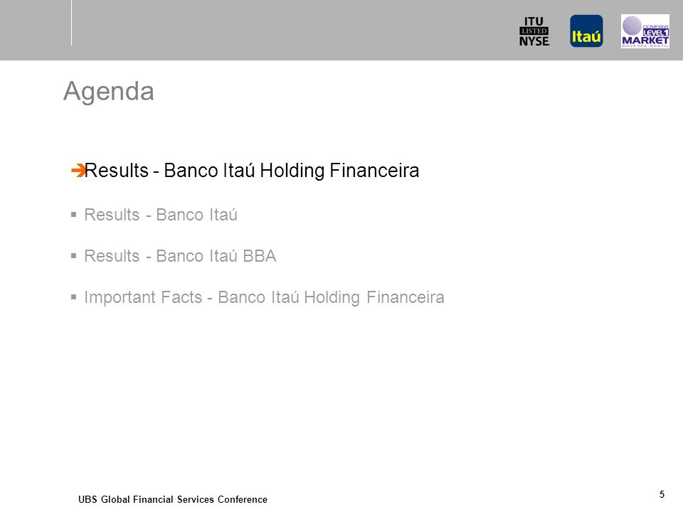 UBS Global Financial Services Conference 5 Agenda  Results - Banco Itaú Holding Financeira  Results - Banco Itaú  Results - Banco Itaú BBA  Important Facts - Banco Itaú Holding Financeira