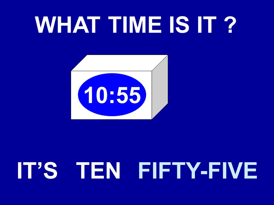 WHAT TIME IS IT 10:55 IT'STENFIFTY-FIVE