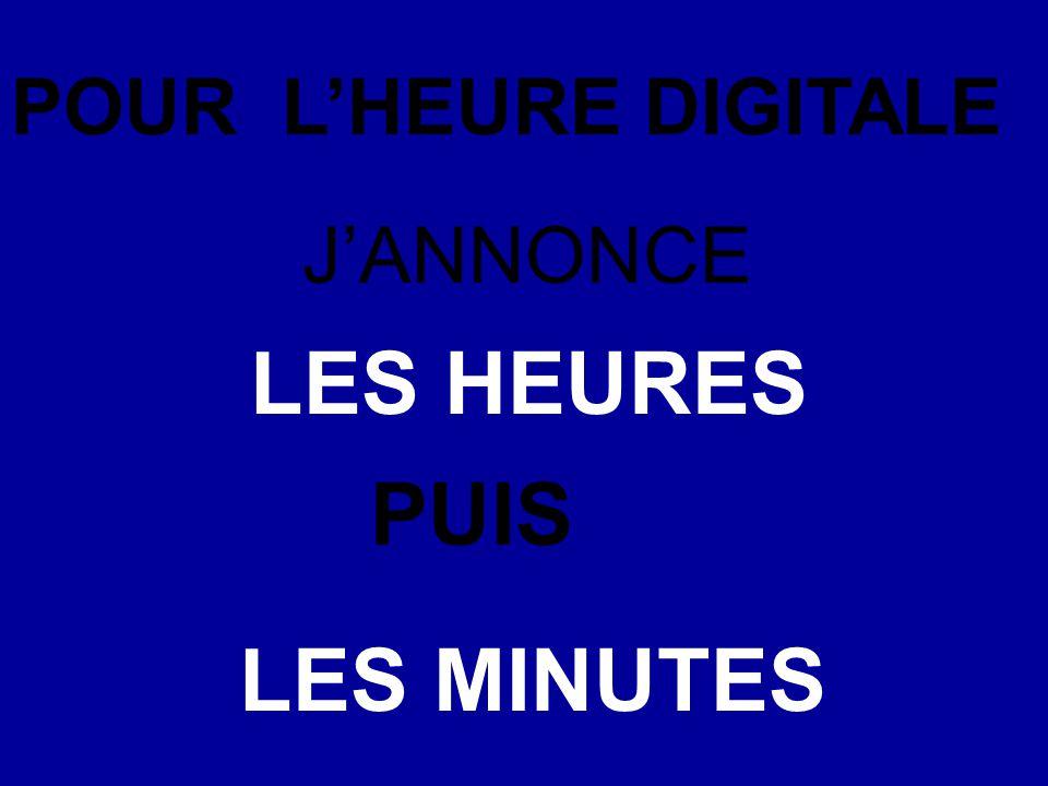 POUR L'HEURE DIGITALE J'ANNONCE LES HEURES PUIS LES MINUTES
