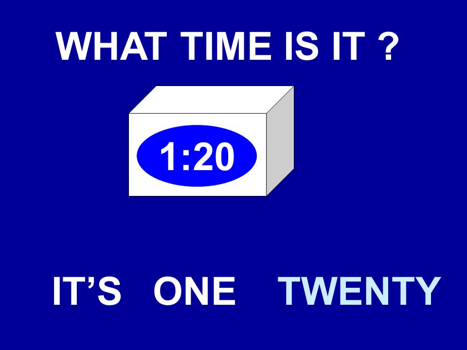 WHAT TIME IS IT 1:20 IT'SONETWENTY