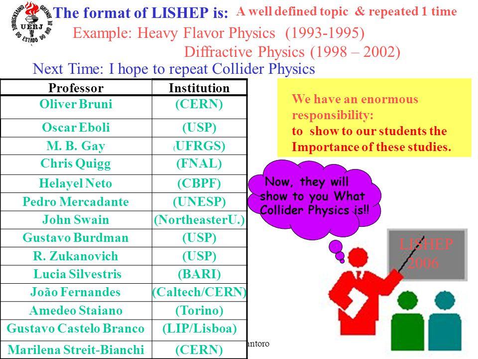 March 27 -31 Alberto Santoro 9 ProfessorInstitution Oliver Bruni(CERN) Oscar Eboli(USP) M.