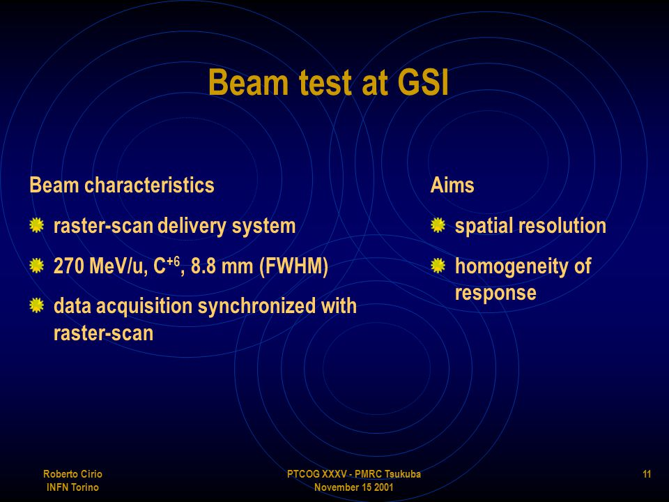 PTCOG XXXV - PMRC Tsukuba November 15 2001 Roberto Cirio INFN Torino 11 Beam test at GSI Beam characteristics raster-scan delivery system 270 MeV/u, C +6, 8.8 mm (FWHM) data acquisition synchronized with raster-scan Aims spatial resolution homogeneity of response