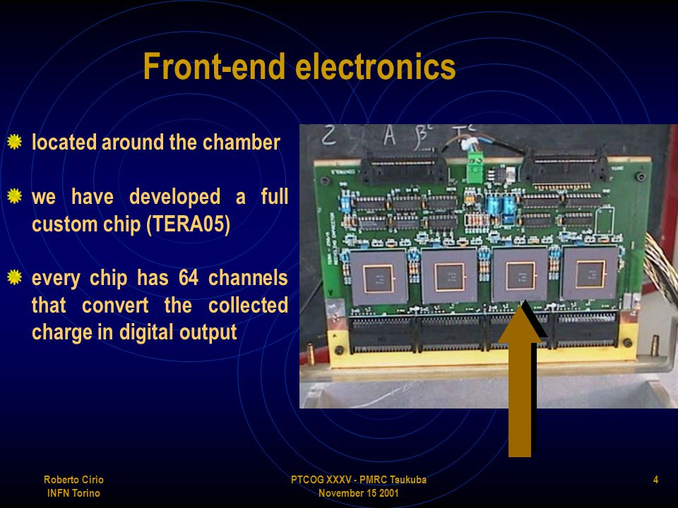 PTCOG XXXV - PMRC Tsukuba November 15 2001 Roberto Cirio INFN Torino 4 Front-end electronics located around the chamber we have developed a full custom chip (TERA05) every chip has 64 channels that convert the collected charge in digital output