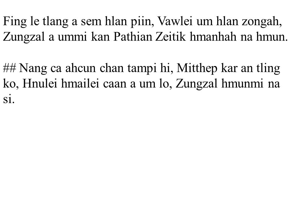 Fing le tlang a sem hlan piin, Vawlei um hlan zongah, Zungzal a ummi kan Pathian Zeitik hmanhah na hmun.