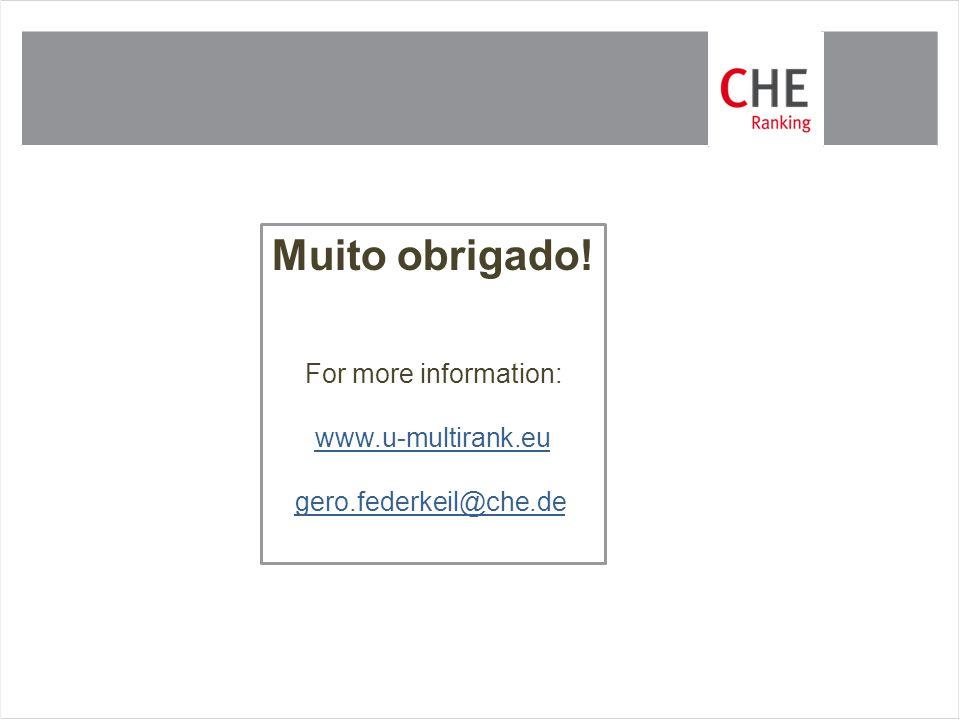 Muito obrigado! For more information: www.u-multirank.eu gero.federkeil@che.de