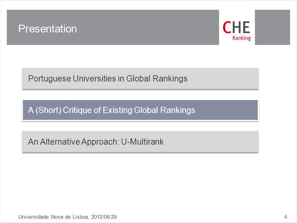 Presentation Universidade Nova de Lisboa, 2012/06/294 Portuguese Universities in Global Rankings A (Short) Critique of Existing Global Rankings An Alternative Approach: U-Multirank