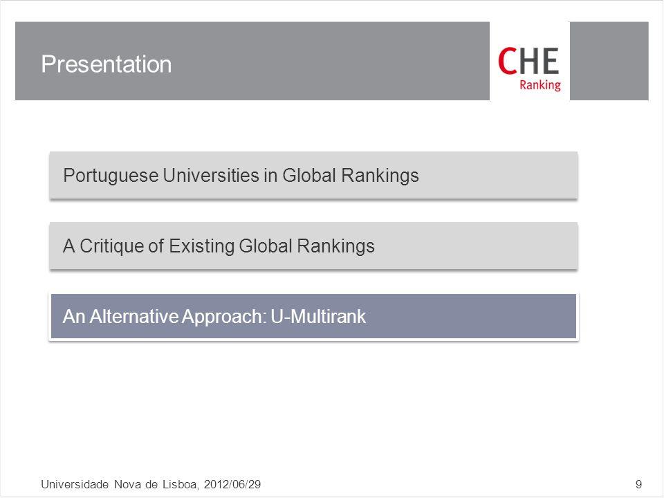 Presentation Universidade Nova de Lisboa, 2012/06/299 Portuguese Universities in Global Rankings A Critique of Existing Global Rankings An Alternative Approach: U-Multirank