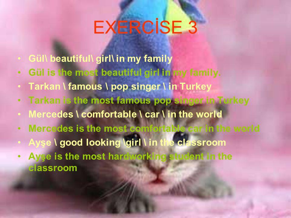 EXERCİSE 3 Gül\ beautiful\ girl\ in my family Gül is the most beautiful girl in my family.