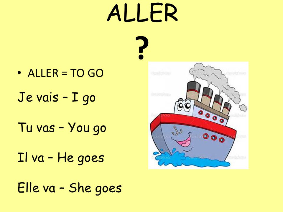 ALLER ALLER = TO GO Je vais – I go Tu vas – You go Il va – He goes Elle va – She goes