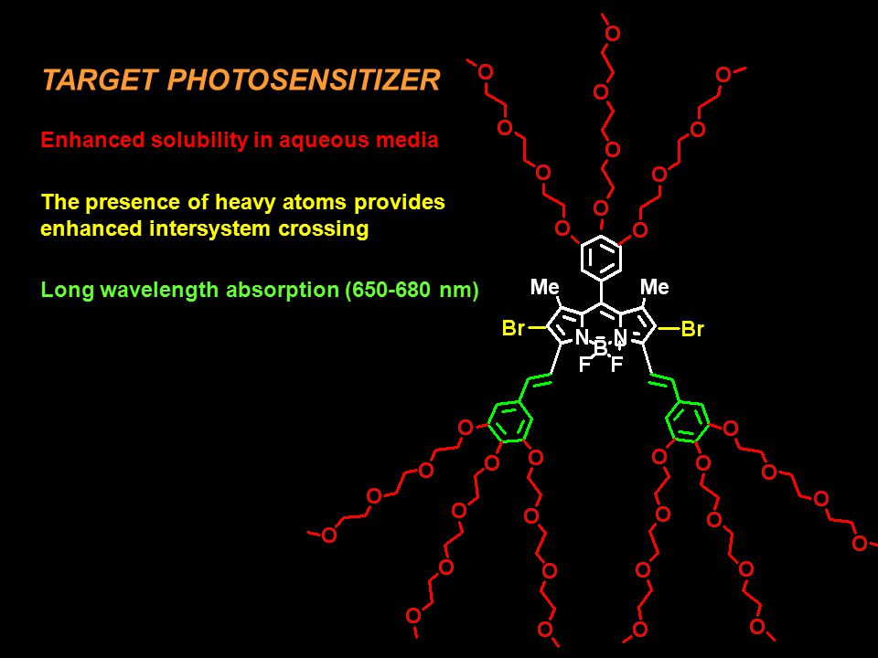 TARGET PHOTOSENSITIZER Enhanced solubility in aqueous media The presence of heavy atoms provides enhanced intersystem crossing Long wavelength absorpt