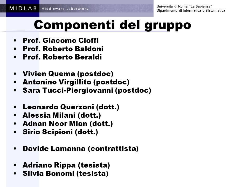 Università di Roma La Sapienza Dipartimento di Informatica e Sistemistica Componenti del gruppo Prof.