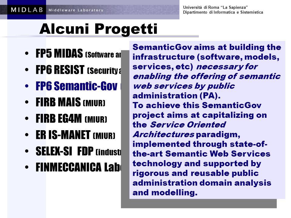 Università di Roma La Sapienza Dipartimento di Informatica e Sistemistica Alcuni Progetti FP5 MIDAS (Software and Services) FP6 RESIST (Security and Dependability) FP6 Semantic-Gov (E-gov) FIRB MAIS (MIUR) FIRB EG4M (MIUR) ER IS-MANET (MIUR) FINMECCANICA Laboratorio Software (industrale) TELECOM Italia DELIS (industrale) The goal of eG4M project is to investigate new methodologies for supporting Mediterranean countries in establishing and consolidating eGovernment.