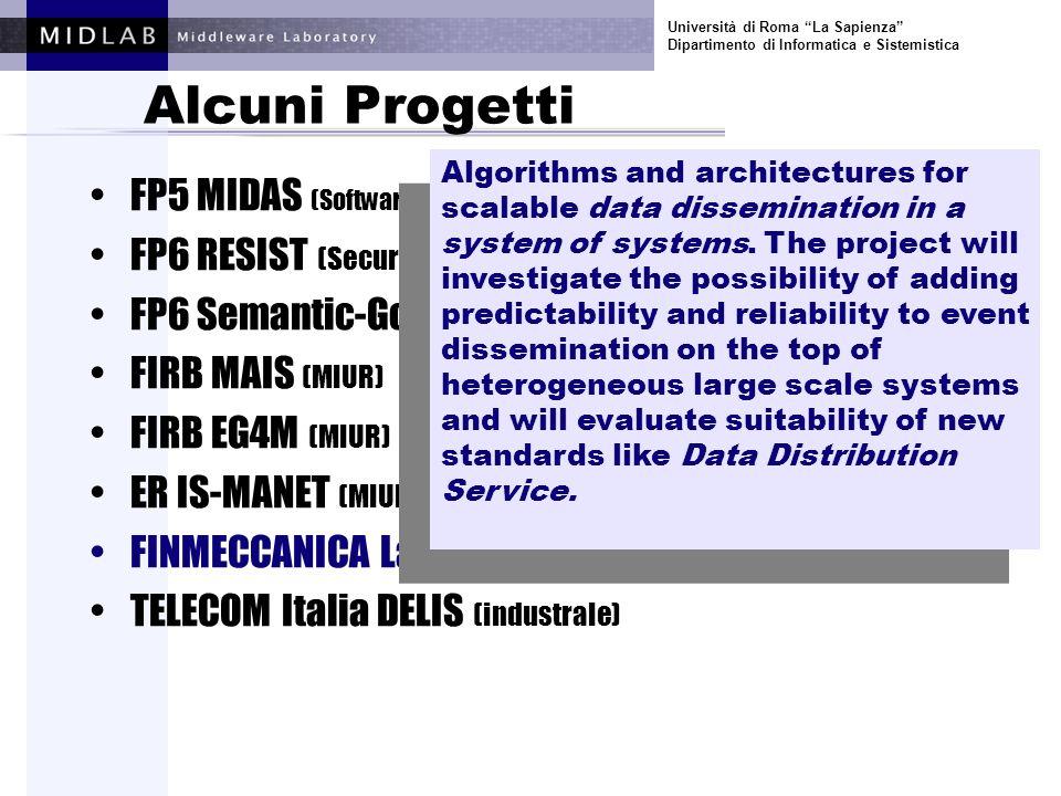 Università di Roma La Sapienza Dipartimento di Informatica e Sistemistica Alcuni Progetti FP5 MIDAS (Software and Services) FP6 RESIST (Security and Dependability) FP6 Semantic-Gov (E-gov) FIRB MAIS (MIUR) FIRB EG4M (MIUR) ER IS-MANET (MIUR) FINMECCANICA Laboratorio Software (industrale) TELECOM Italia DELIS (industrale) Algorithms and architectures for next generation network management systems based on peer-to-peer paradigm.