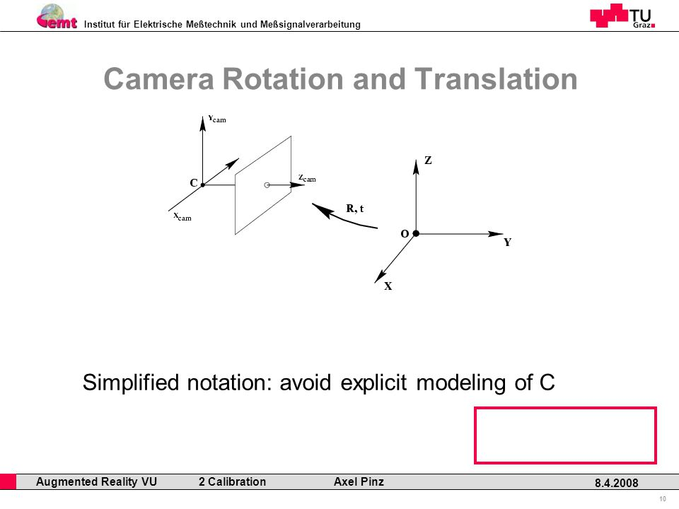 Institut für Elektrische Meßtechnik und Meßsignalverarbeitung Professor Horst Cerjak, 19.12.2005 10 8.4.2008 Augmented Reality VU 2 Calibration Axel Pinz Camera Rotation and Translation Simplified notation: avoid explicit modeling of C