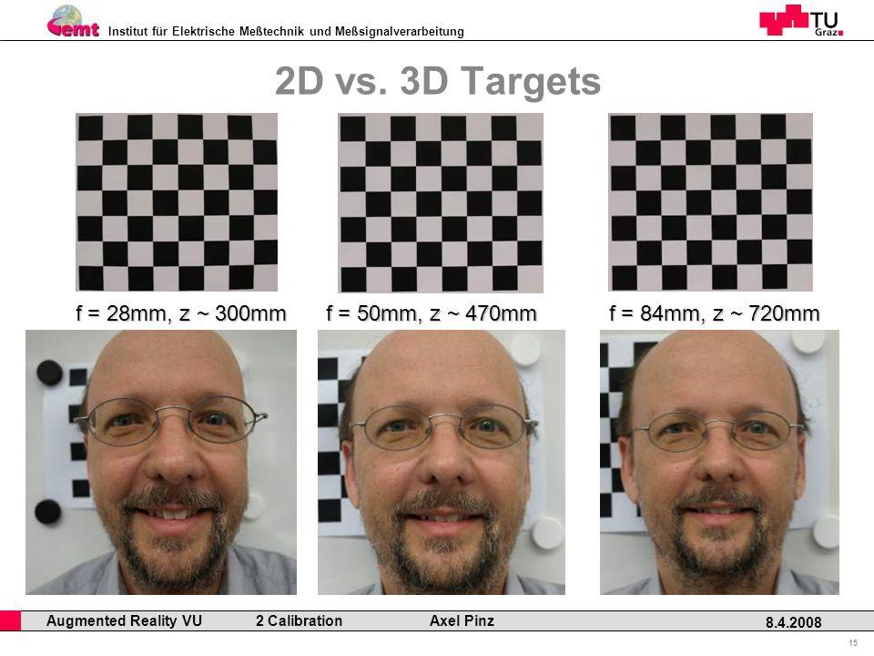 Institut für Elektrische Meßtechnik und Meßsignalverarbeitung Professor Horst Cerjak, 19.12.2005 15 8.4.2008 Augmented Reality VU 2 Calibration Axel Pinz 2D vs.