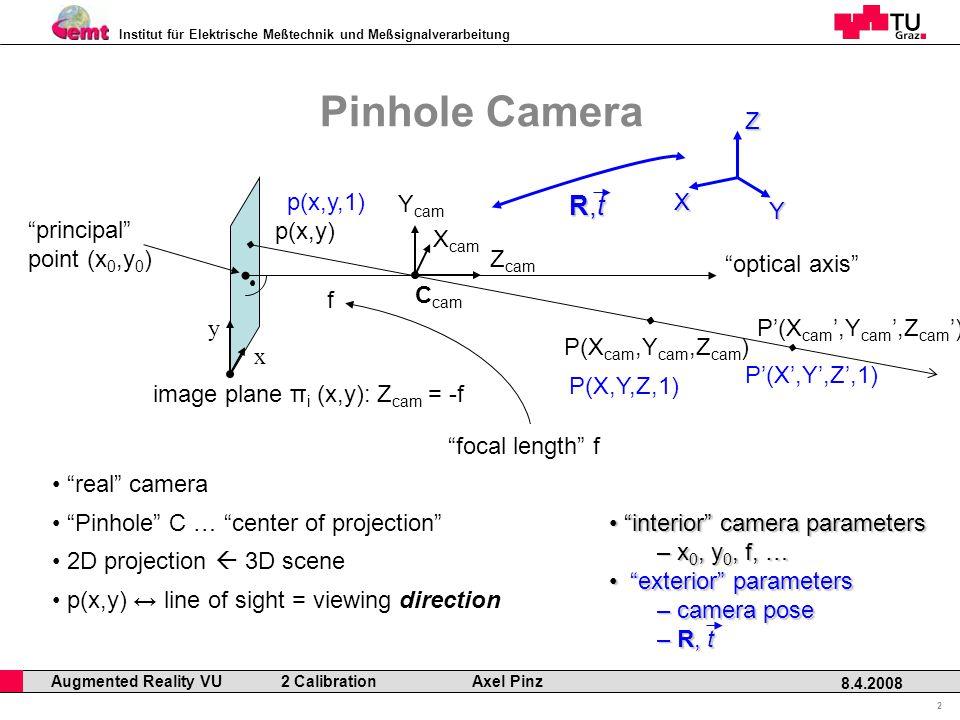 Institut für Elektrische Meßtechnik und Meßsignalverarbeitung Professor Horst Cerjak, 19.12.2005 2 8.4.2008 Augmented Reality VU 2 Calibration Axel Pinz Pinhole Camera real camera image plane π i (x,y): Z cam = -f x y Z cam X cam Y cam principal point (x 0,y 0 ) optical axis p(x,y) P(X cam,Y cam,Z cam ) f focal length f 2D projection  3D scene p(x,y) ↔ line of sight = viewing direction P'(X cam ',Y cam ',Z cam ') Pinhole C … center of projection C cam X Y Z P(X,Y,Z,1) P'(X',Y',Z',1) R,tR,tR,tR,t p(x,y,1) interior camera parameters interior camera parameters – x 0, y 0, f, … exterior parameters exterior parameters – camera pose – R, t