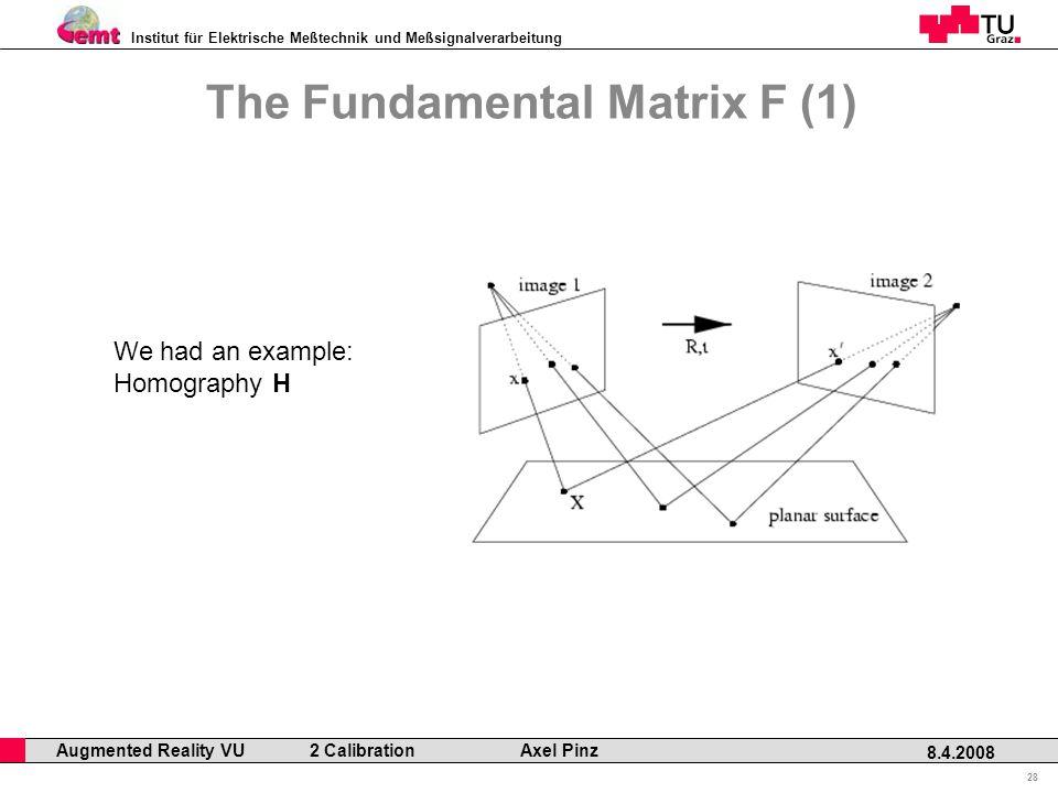 Institut für Elektrische Meßtechnik und Meßsignalverarbeitung Professor Horst Cerjak, 19.12.2005 28 8.4.2008 Augmented Reality VU 2 Calibration Axel Pinz The Fundamental Matrix F (1) We had an example: Homography H