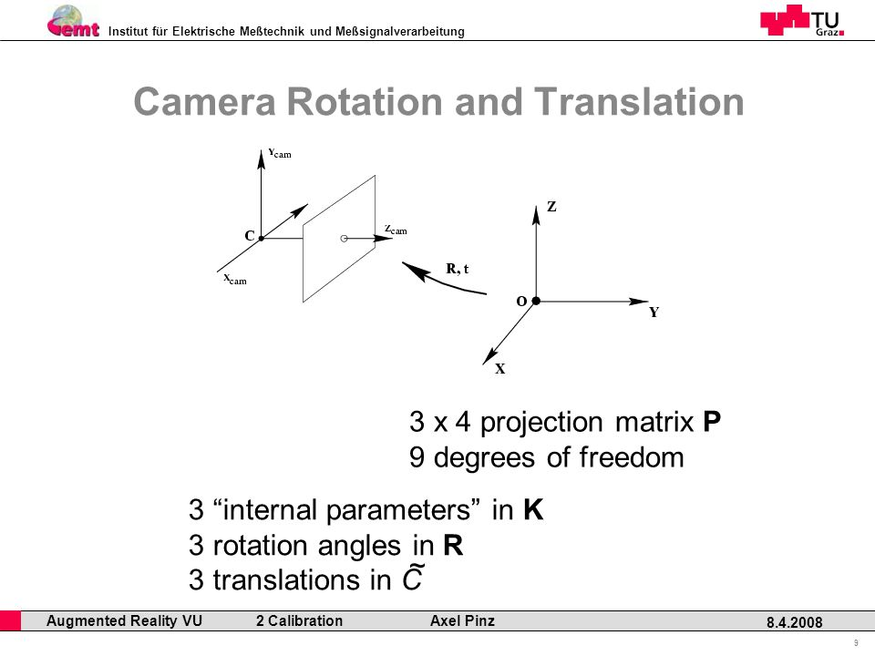 Institut für Elektrische Meßtechnik und Meßsignalverarbeitung Professor Horst Cerjak, 19.12.2005 9 8.4.2008 Augmented Reality VU 2 Calibration Axel Pinz Camera Rotation and Translation 3 x 4 projection matrix P 9 degrees of freedom 3 internal parameters in K 3 rotation angles in R 3 translations in C ~