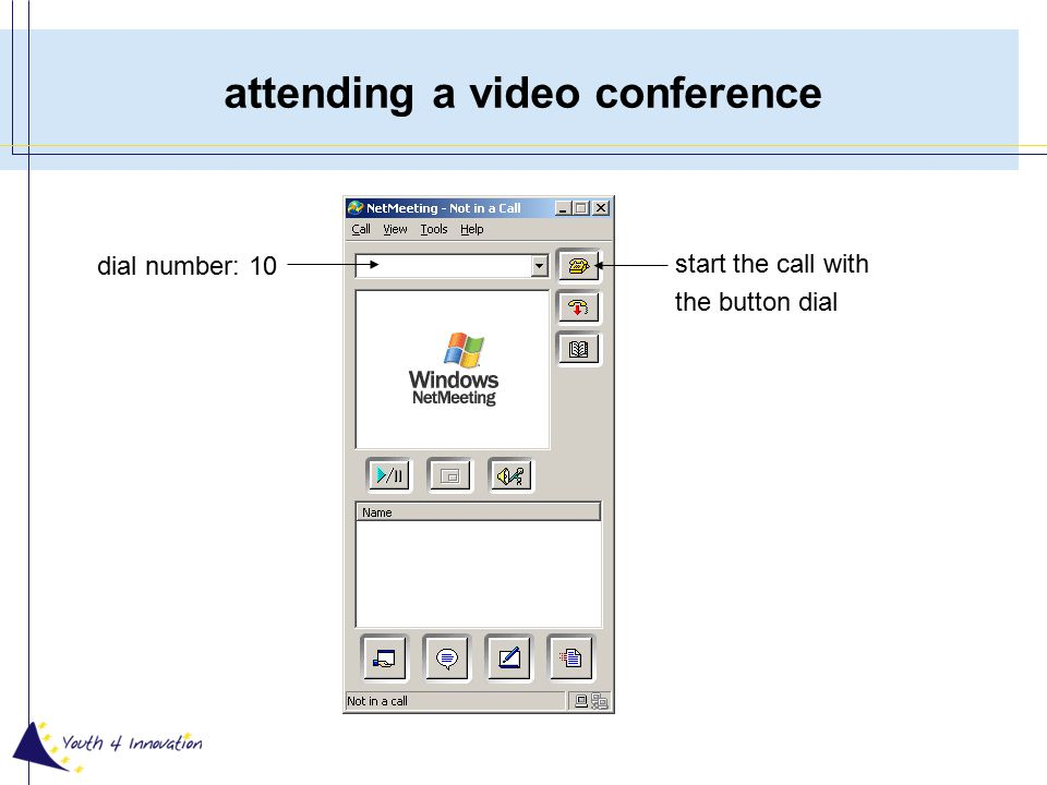 call single members dial the number of the colleague normal video conference additional features: –program sharing –chat –file transfer –whiteboard