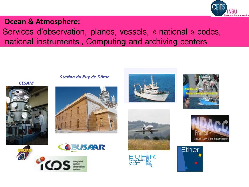 Ocean & Atmosphere: Services d'observation, planes, vessels, « national » codes, national instruments, Computing and archiving centers