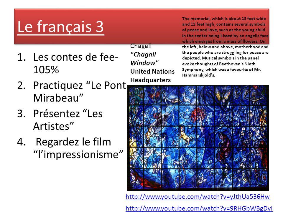 Le français 3 1.Les contes de fee- 105% 2.Practiquez Le Pont Mirabeau 3.Présentez Les Artistes 4.