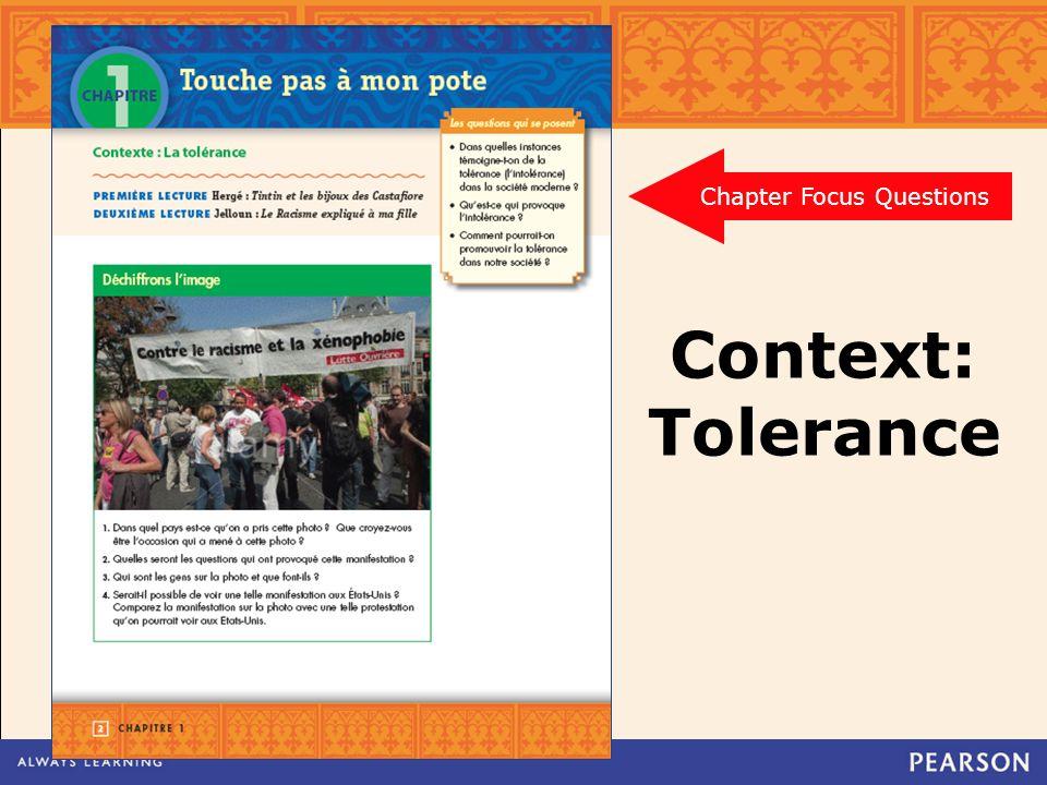 Context: Tolerance Chapter Focus Questions
