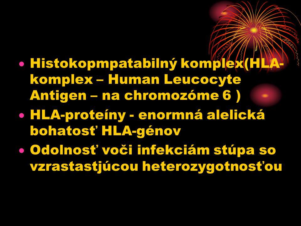  Histokopmpatabilný komplex(HLA- komplex – Human Leucocyte Antigen – na chromozóme 6 )  HLA-proteíny - enormná alelická bohatosť HLA-génov  Odolnosť voči infekciám stúpa so vzrastastjúcou heterozygotnosťou