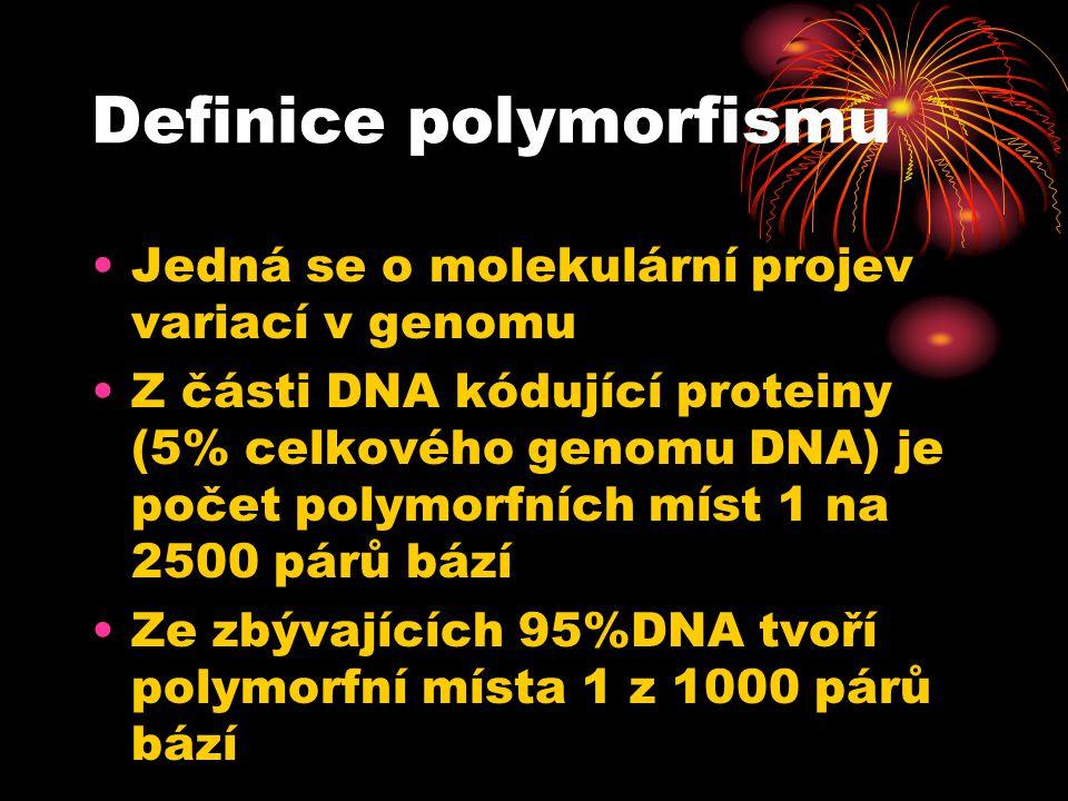 Definice polymorfismu Jedná se o molekulární projev variací v genomu Z části DNA kódující proteiny (5% celkového genomu DNA) je počet polymorfních míst 1 na 2500 párů bází Ze zbývajících 95%DNA tvoří polymorfní místa 1 z 1000 párů bází