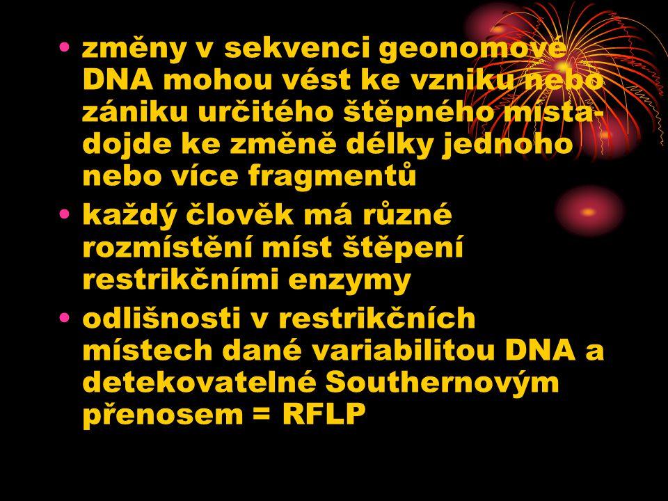 změny v sekvenci geonomové DNA mohou vést ke vzniku nebo zániku určitého štěpného místa- dojde ke změně délky jednoho nebo více fragmentů každý člověk má různé rozmístění míst štěpení restrikčními enzymy odlišnosti v restrikčních místech dané variabilitou DNA a detekovatelné Southernovým přenosem = RFLP