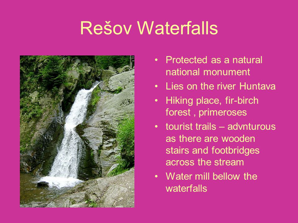Rešov Waterfalls Protected as a natural national monument Lies on the river Huntava Hiking place, fir-birch forest, primeroses tourist trails – advntu