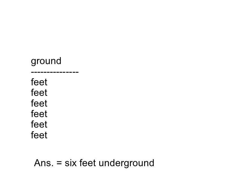 ground --------------- feet feet feet feet feet feet Ans. = six feet underground