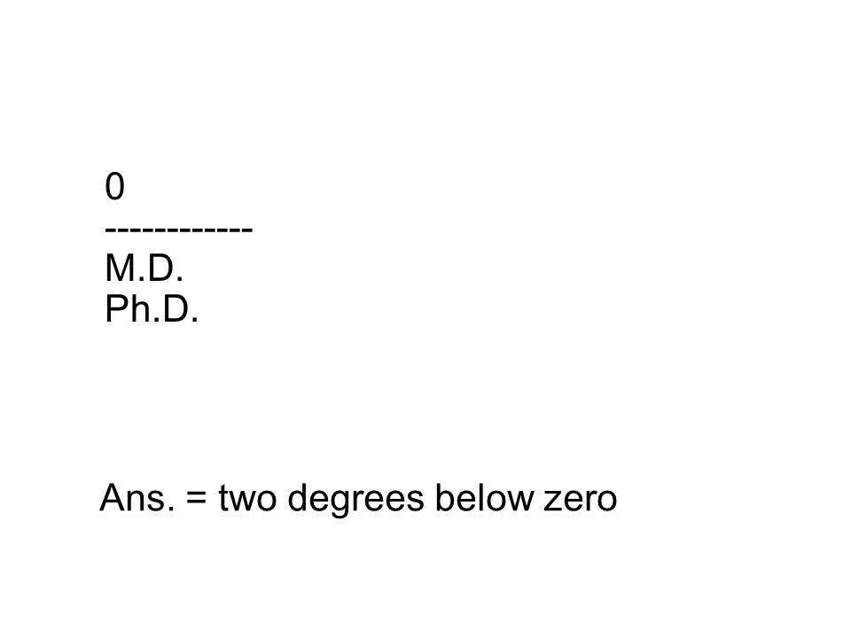 0 ------------ M.D. Ph.D. Ans. = two degrees below zero