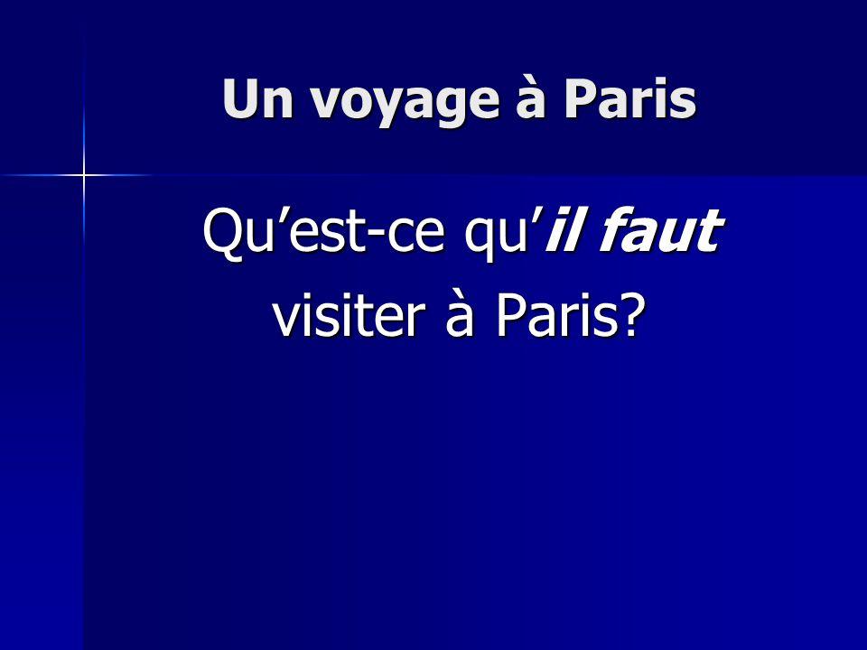 Un voyage à Paris Qu'est-ce qu'il faut visiter à Paris