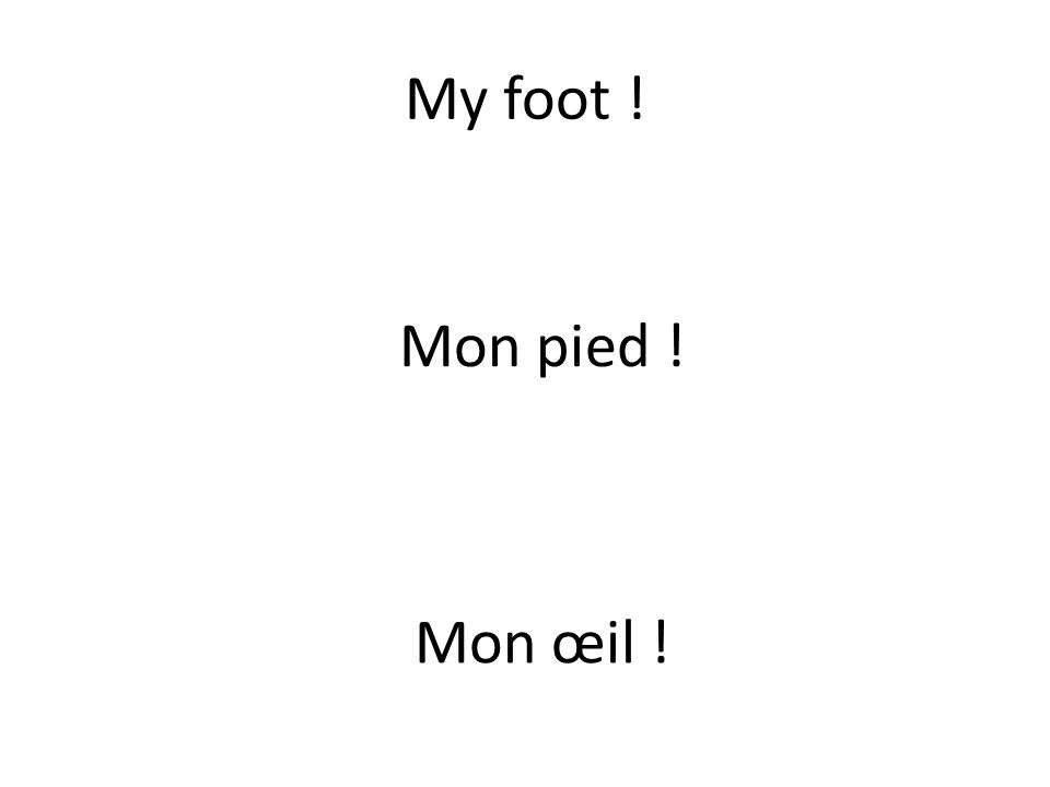 My foot ! Mon pied ! Mon œil !
