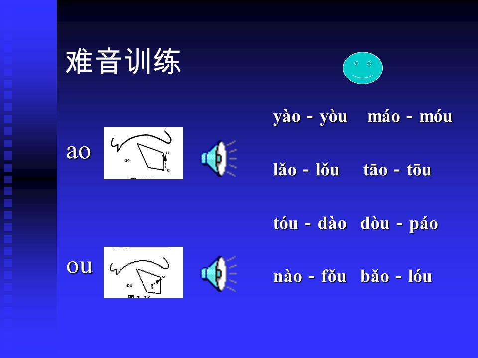 韵母训练 ai bāi mái nǎi lài bāi mái nǎi làiei fēi péi měi lèi fēi péi měi lèiao lāo náo dǎo tào lāo náo dǎo tàoou yōu lóu fǒu tòu yōu lóu fǒu tòu