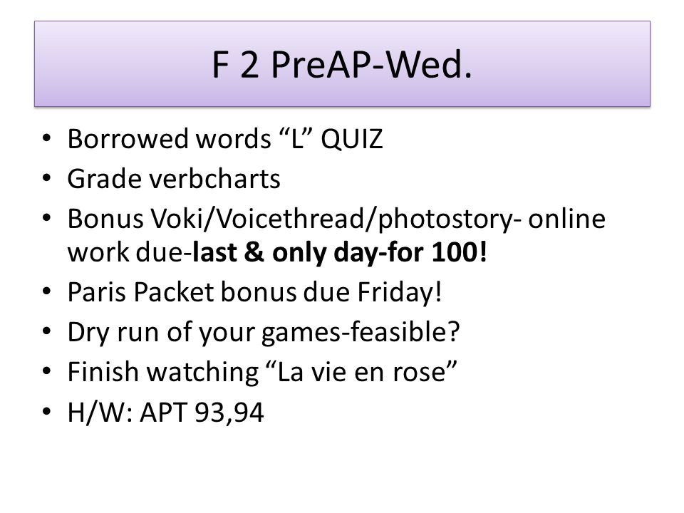 F 2 PreAP-Wed.