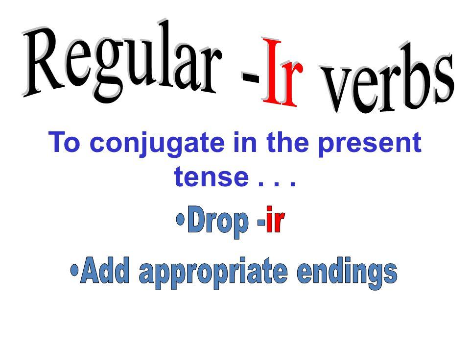 To conjugate in the present tense...