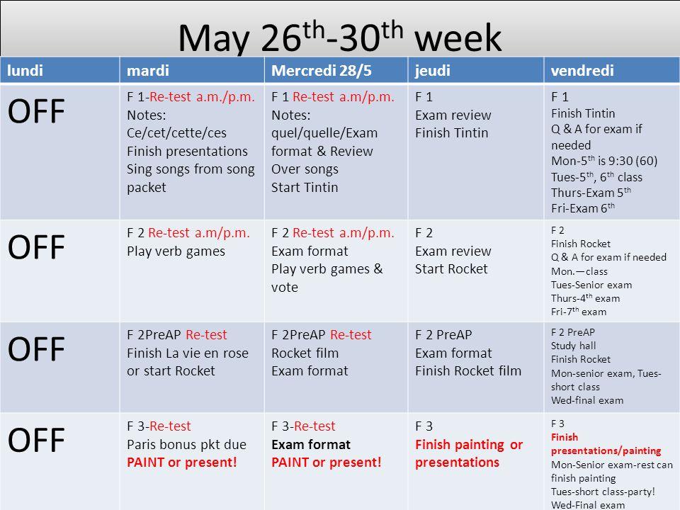 May 26 th -30 th week lundimardiMercredi 28/5jeudivendredi OFF F 1-Re-test a.m./p.m.