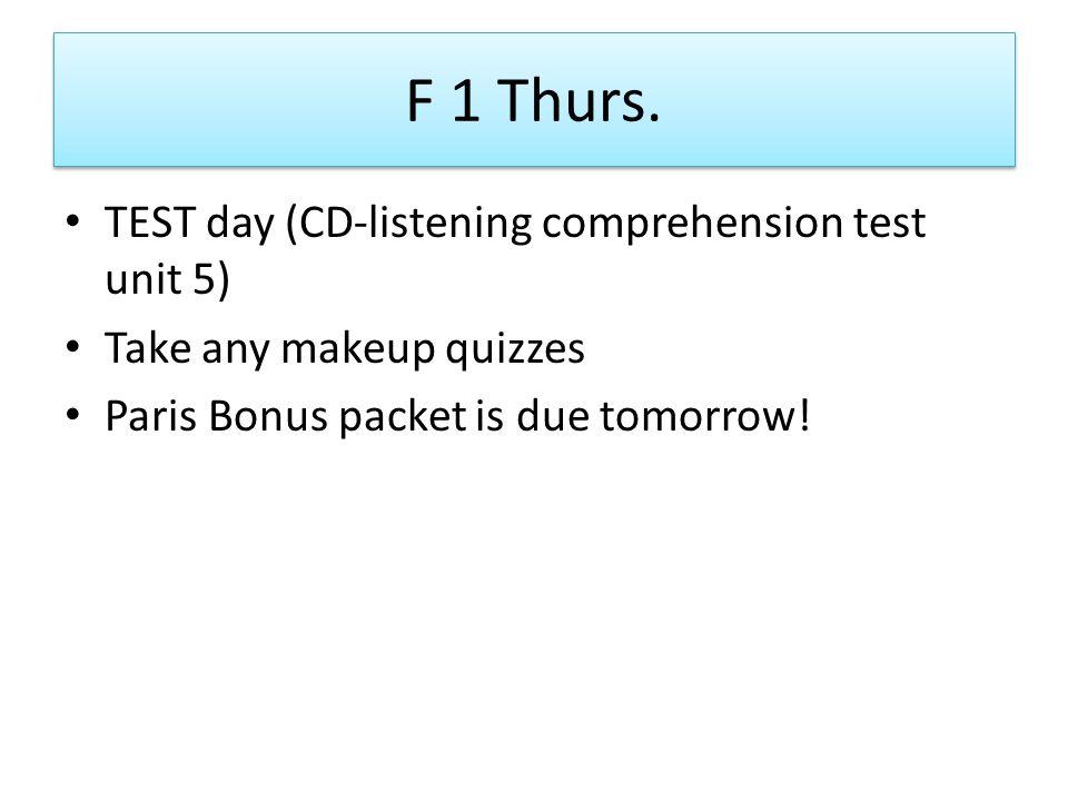F 1 Thurs.