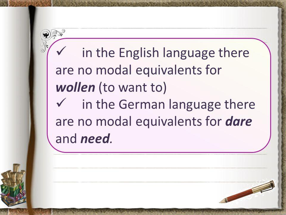 EnglishGerman surelywohl certainlyfreilich hardlyschwerlich howeverimmerhin Each modal adverb in English has its modal equivalent in German.