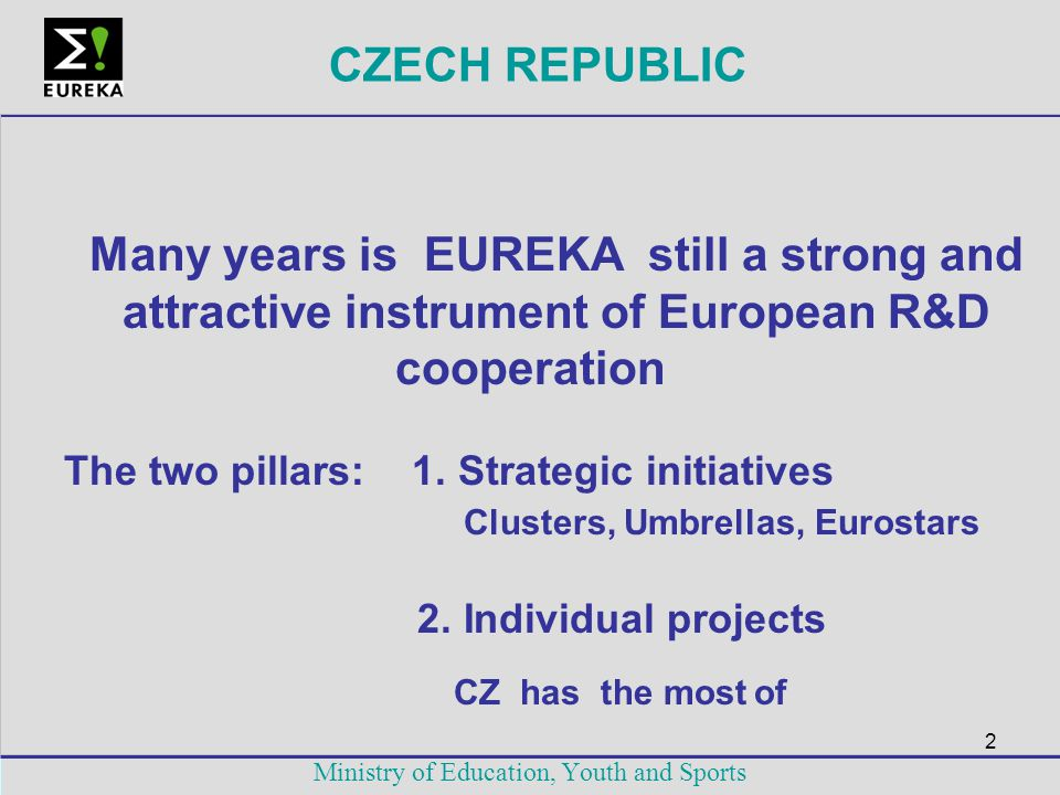 2 Ministry of Education, Youth and Sports CZECH REPUBLIC Many years is EUREKA still a strong and attractive instrument of European R&D cooperation The
