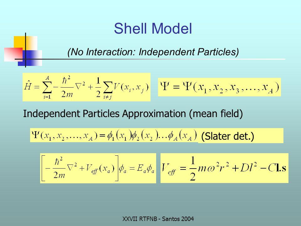 Shell Model (No Interaction: Independent Particles) Independent Particles Approximation (mean field) (Slater det.)