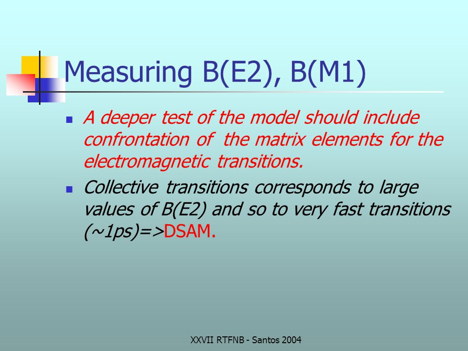 Measuring B(E2), B(M1) A deeper test of the model should include confrontation of the matrix elements for the electromagnetic transitions.