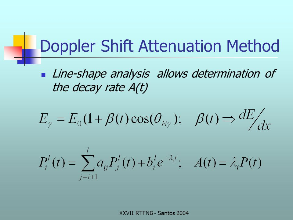 Doppler Shift Attenuation Method Line-shape analysis allows determination of the decay rate A(t)