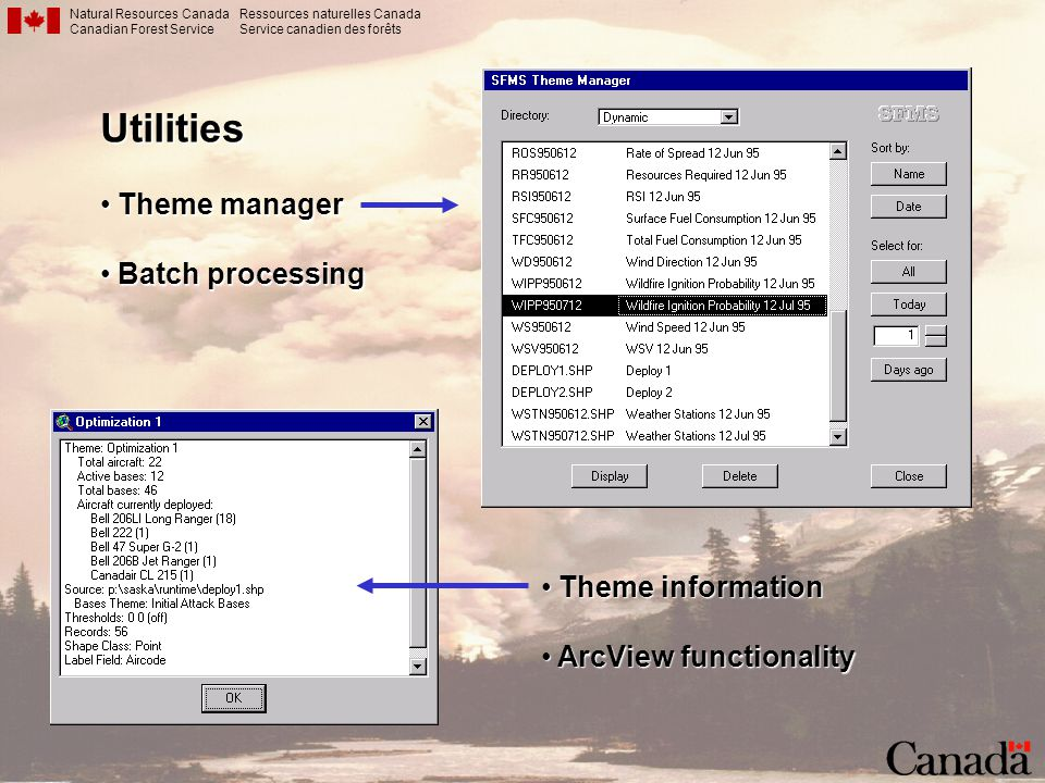 Natural Resources Canada Canadian Forest Service Ressources naturelles Canada Service canadien des forêtsUtilities Theme manager Theme manager Batch p