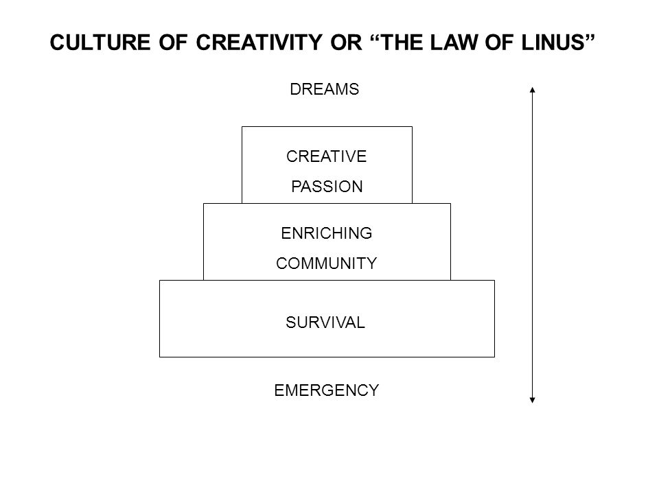 SURVIVAL ENRICHING COMMUNITY CREATIVE PASSION EMERGENCY DREAMS CULTURE OF CREATIVITY OR THE LAW OF LINUS