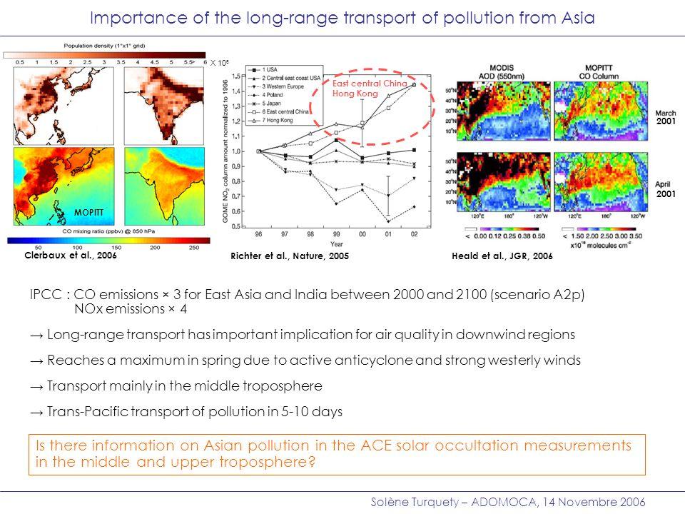 Solène Turquety – ADOMOCA, 14 Novembre 2006 120° 150° 180°-150°-120° 120° 150° 180°-150°-120° ACE occultation Comparison of CO from ACE and the LMDz-INCA model