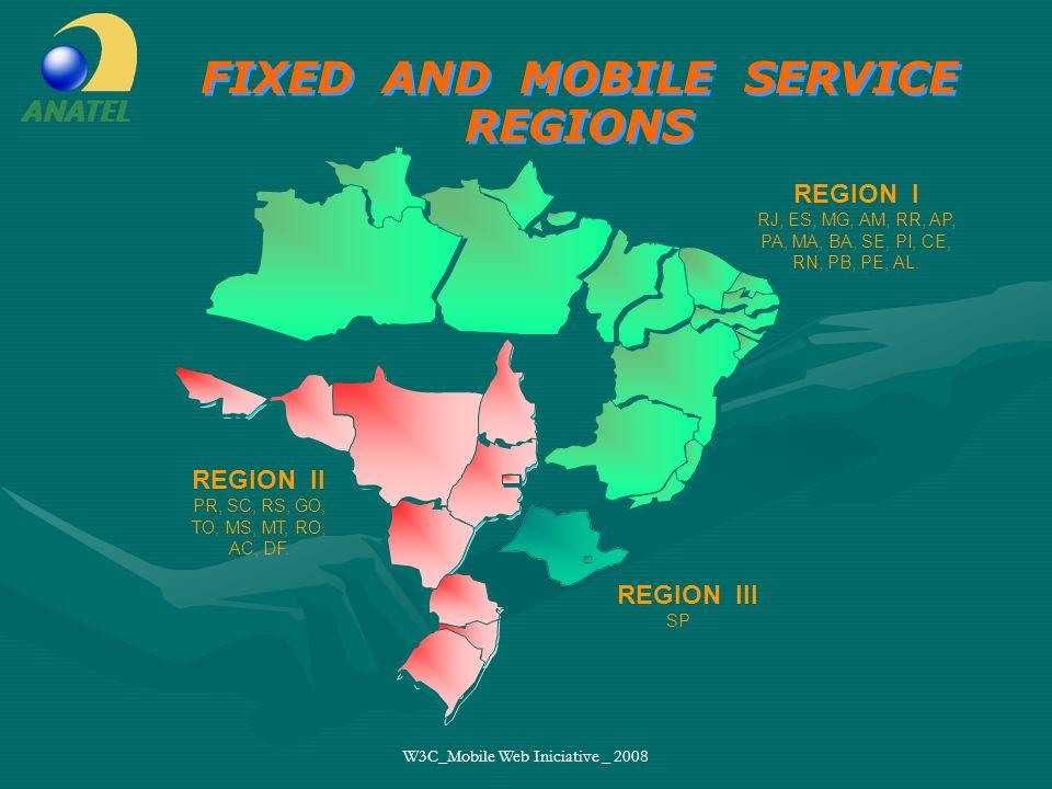 W3C_Mobile Web Iniciative _ 2008 Pre paid X pos paid (%) % acces 80,66% Pós-Pago Pré-Pago 97.576.507 (80,66%) Pre-Paid 23.403.596 (19,34%) Pos-Paid